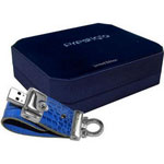 USB Flash Drive   4GB  USB 2.0 Prestigio Blue Leather(PLDF4096CRBLUE)