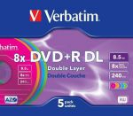 Диски DVD+R Verbatim 8.5 Gb 8x Double Layer 5шт Jewel
