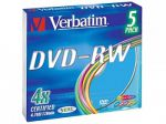Диски DVD-RW Verbatim 4.7Gb  4x slim color 5шт