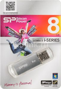 Накопитель USB Flash Drive 8GB SILICON Power Ultima II-I Series SP008GBUF2M01V1S,USB 2.0 серебристый ― 1962.ru